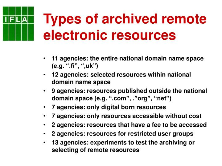 Types of archived remote electronic resources