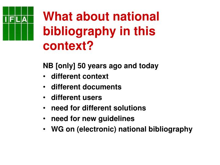 What about national bibliography in this context?