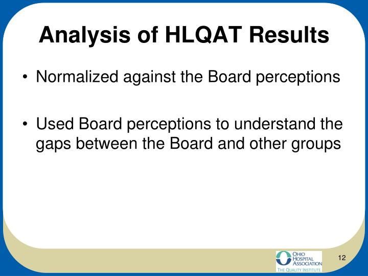 Analysis of HLQAT Results
