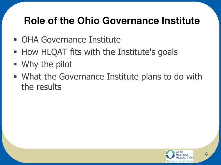 Role of the Ohio Governance Institute