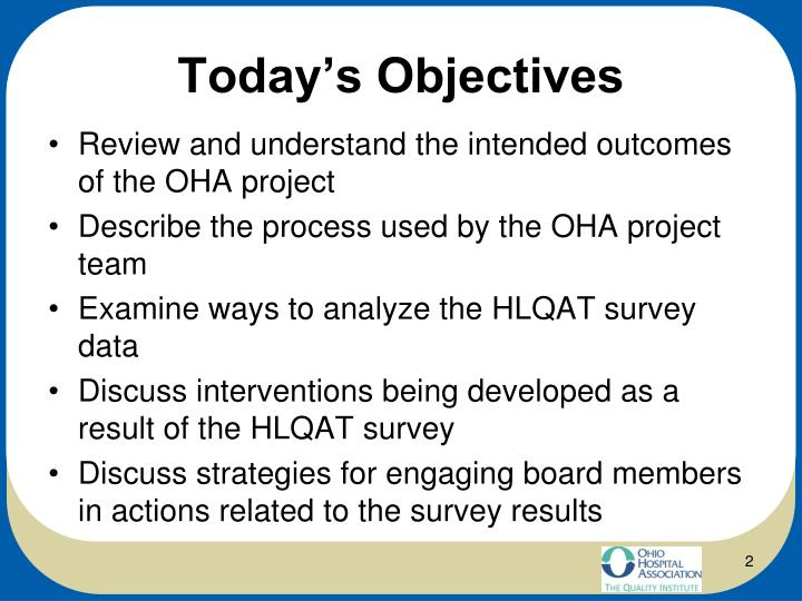 Today s objectives