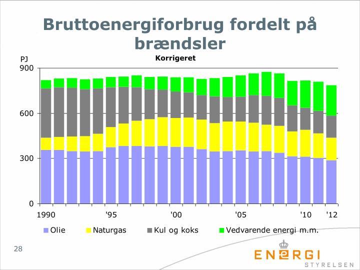 Bruttoenergiforbrug fordelt på brændsler