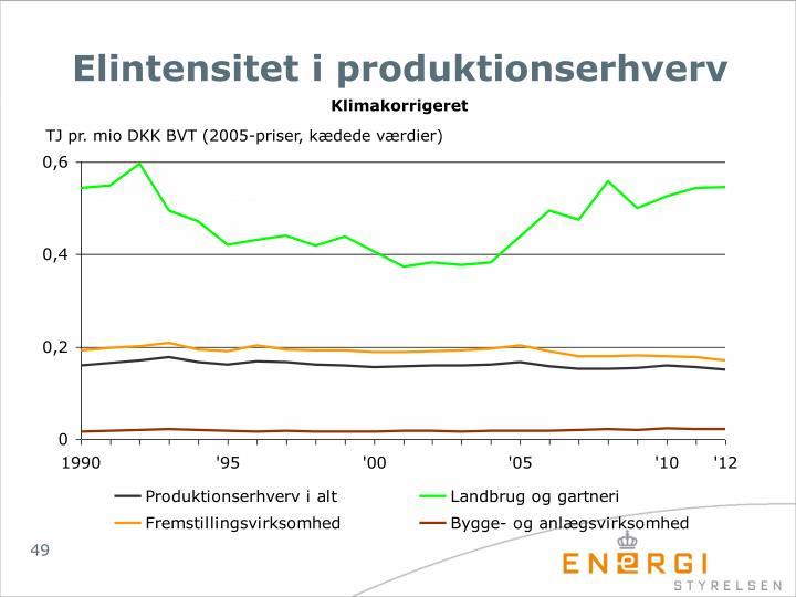 Elintensitet i produktionserhverv