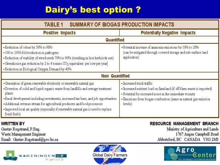 Dairy's best option ?