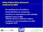 study global dairy research ordered by gdf