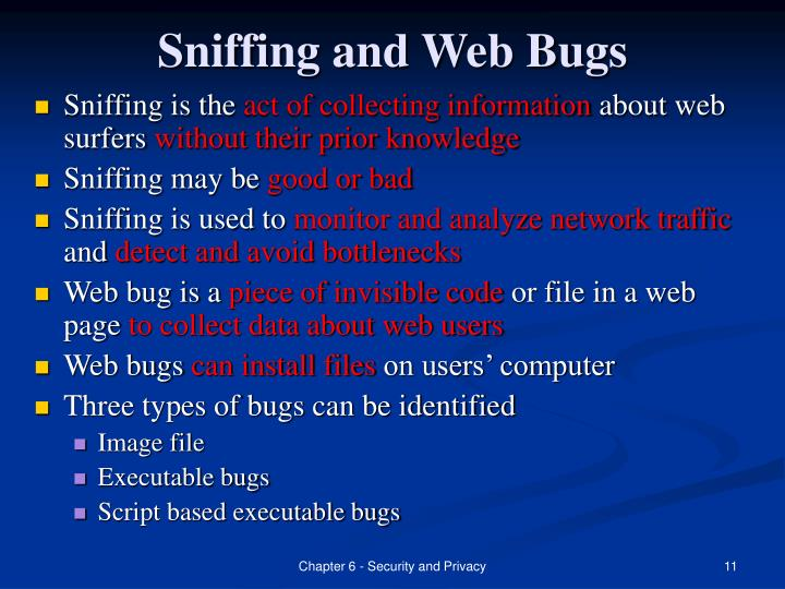 Sniffing and Web Bugs