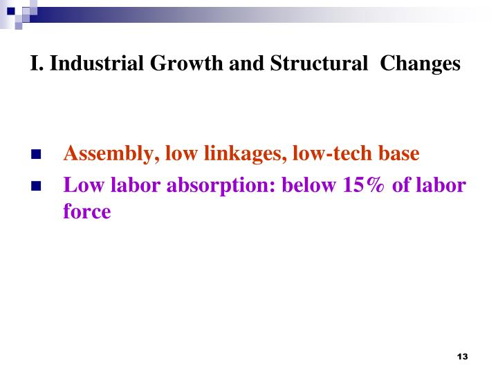I. Industrial Growth and Structural  Changes