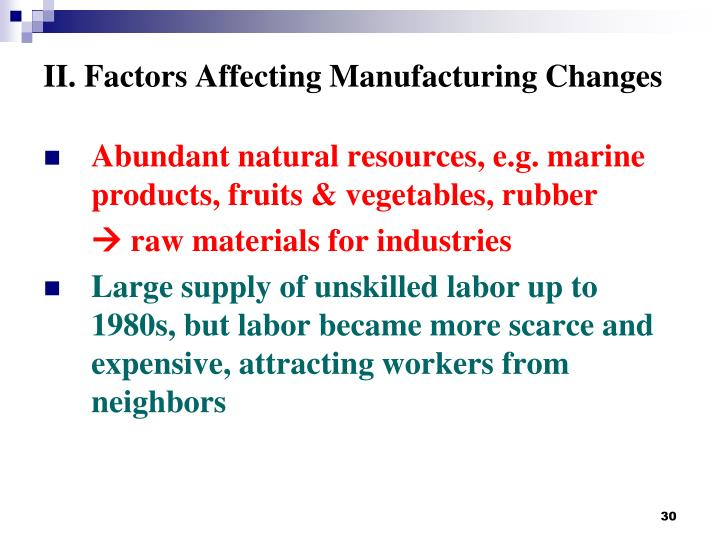 II. Factors Affecting Manufacturing Changes