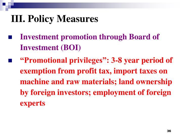 III. Policy Measures