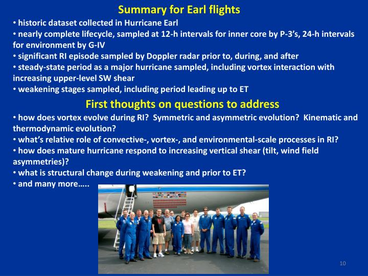 Summary for Earl flights