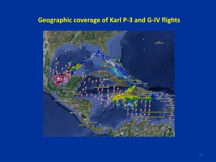 Geographic coverage of Karl P-3 and G-IV flights