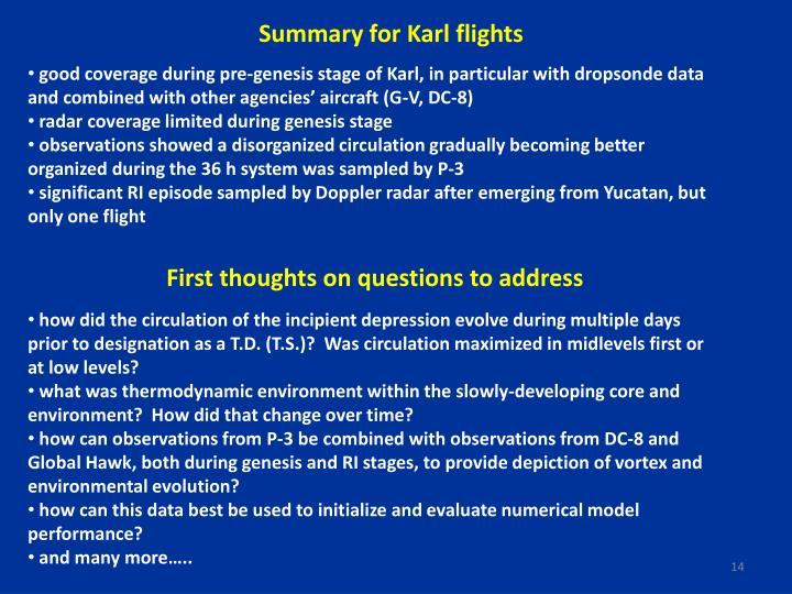 Summary for Karl flights