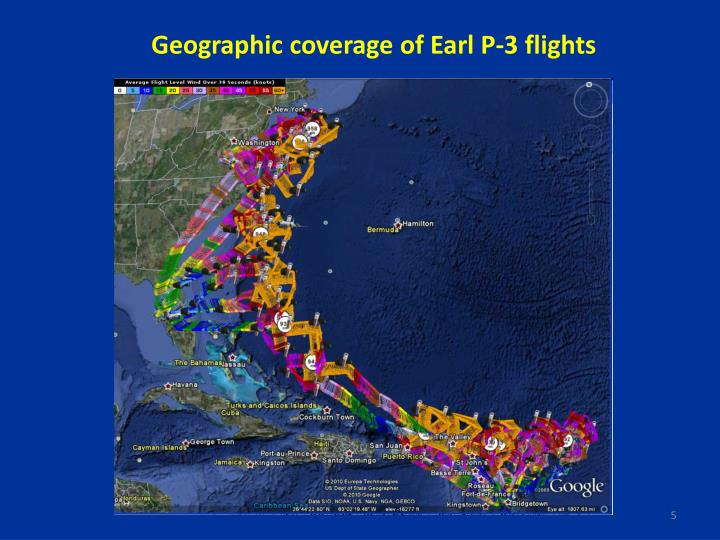 Geographic coverage of Earl P-3 flights
