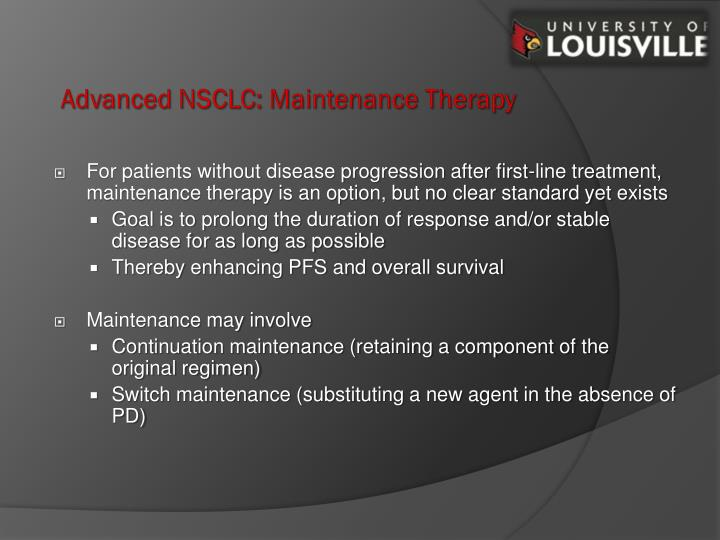 Advanced NSCLC: Maintenance Therapy