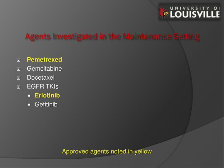 Agents Investigated in the Maintenance Setting