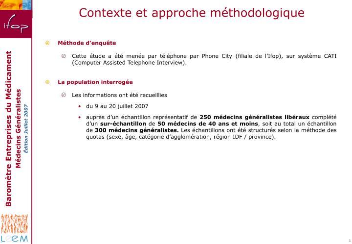 Contexte et approche méthodologique