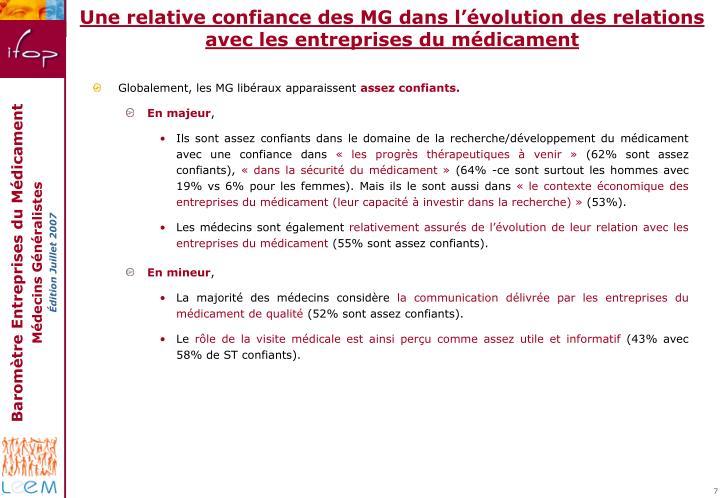 Une relative confiance des MG dans l'évolution des relations avec les entreprises du médicament