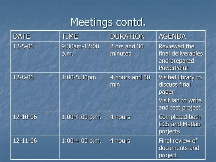 Meetings contd.