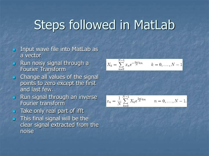 Steps followed in MatLab