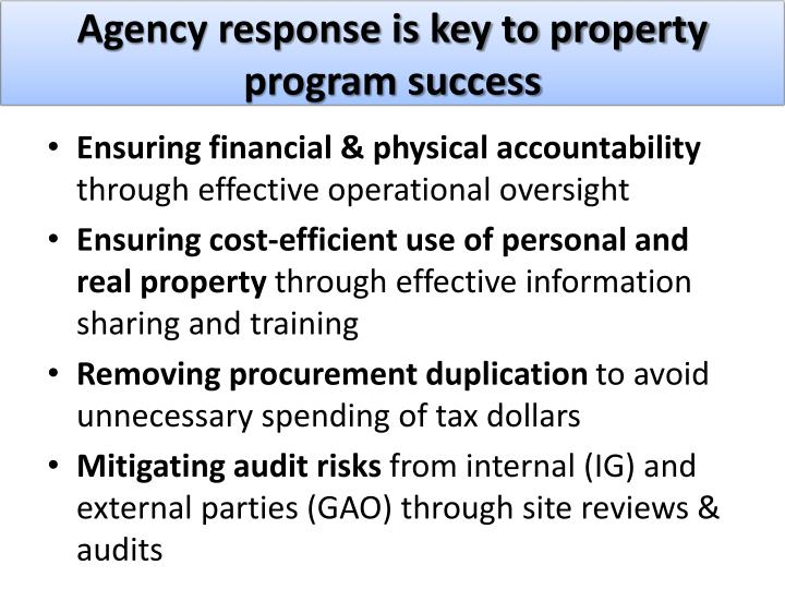 Agency response is key to property program success