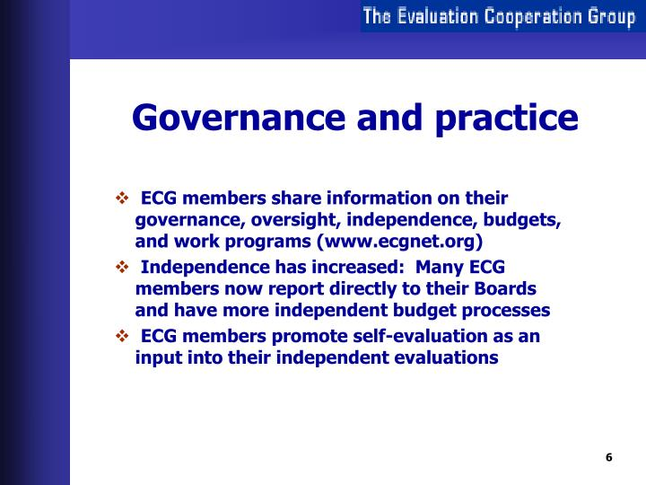 Governance and practice