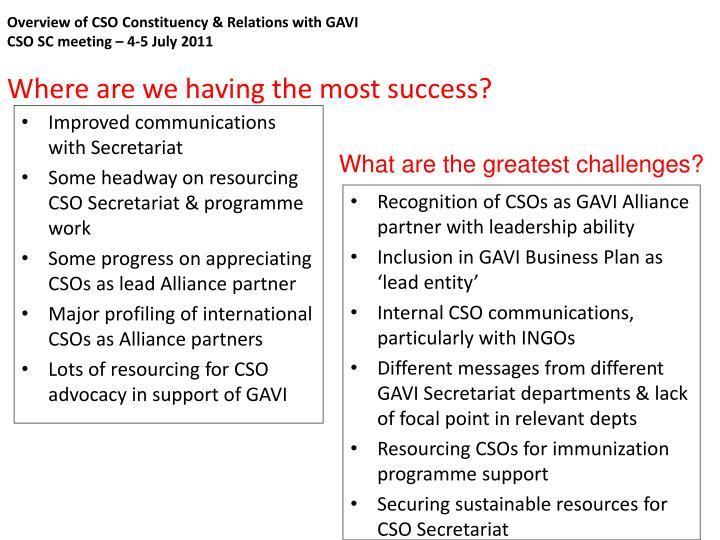 Overview of CSO Constituency & Relations with GAVI