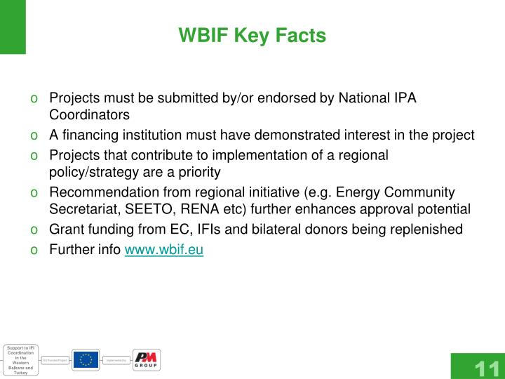 WBIF Key Facts
