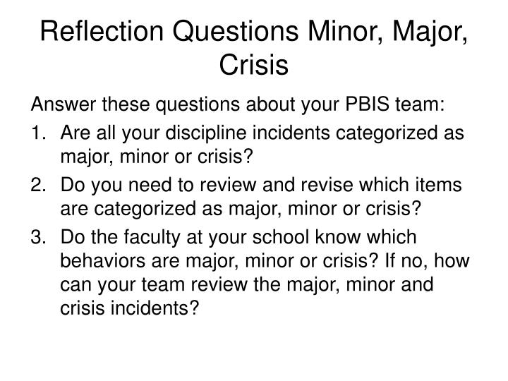 Reflection Questions Minor, Major, Crisis