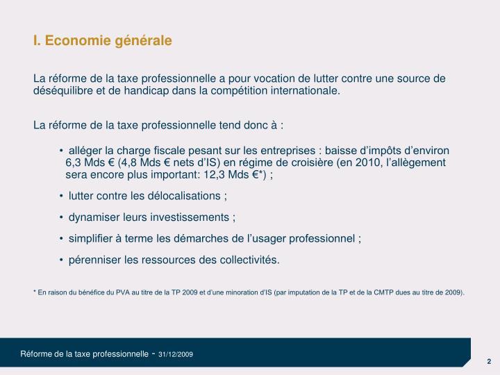 I. Economie générale