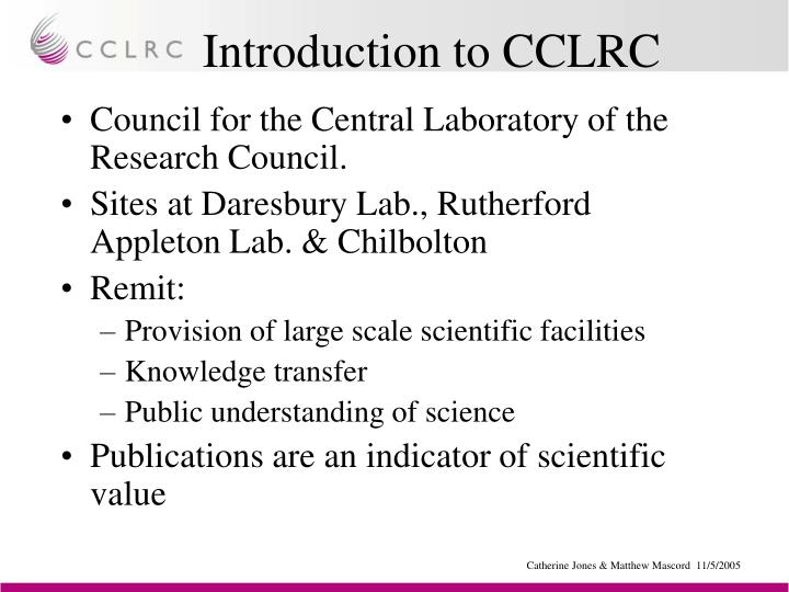 Introduction to CCLRC
