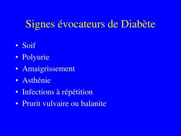Signes évocateurs de Diabète