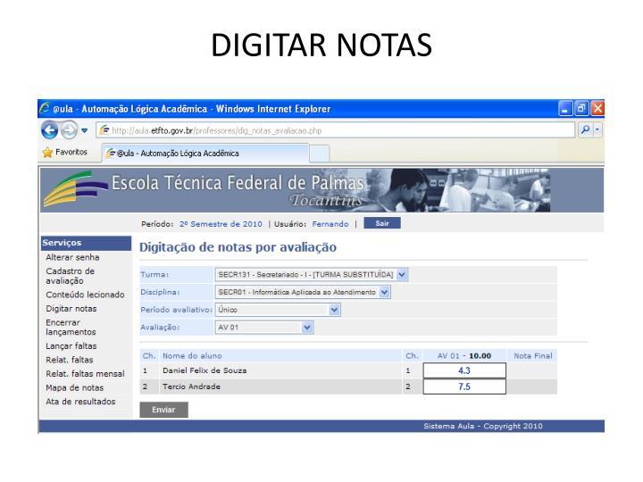 DIGITAR NOTAS