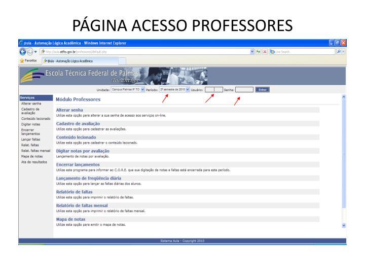 PÁGINA ACESSO PROFESSORES