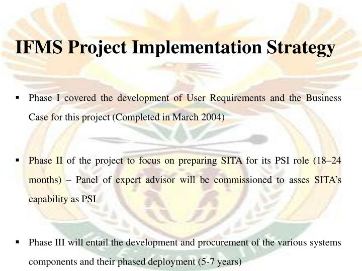 IFMS Project Implementation Strategy