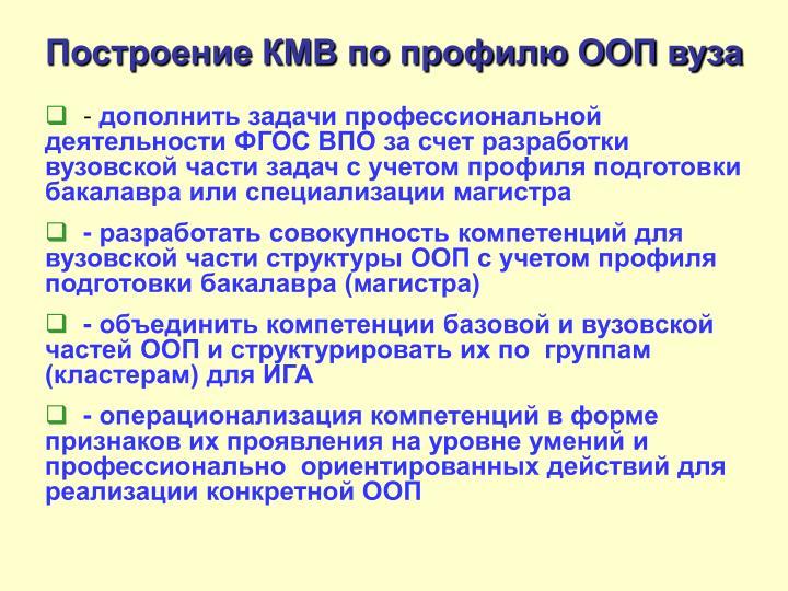 Построение КМВ по профилю ООП вуза