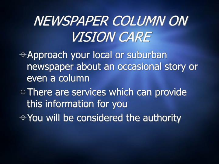 NEWSPAPER COLUMN ON VISION CARE