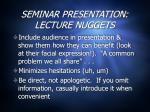 seminar presentation lecture nuggets2