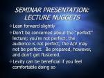 seminar presentation lecture nuggets3