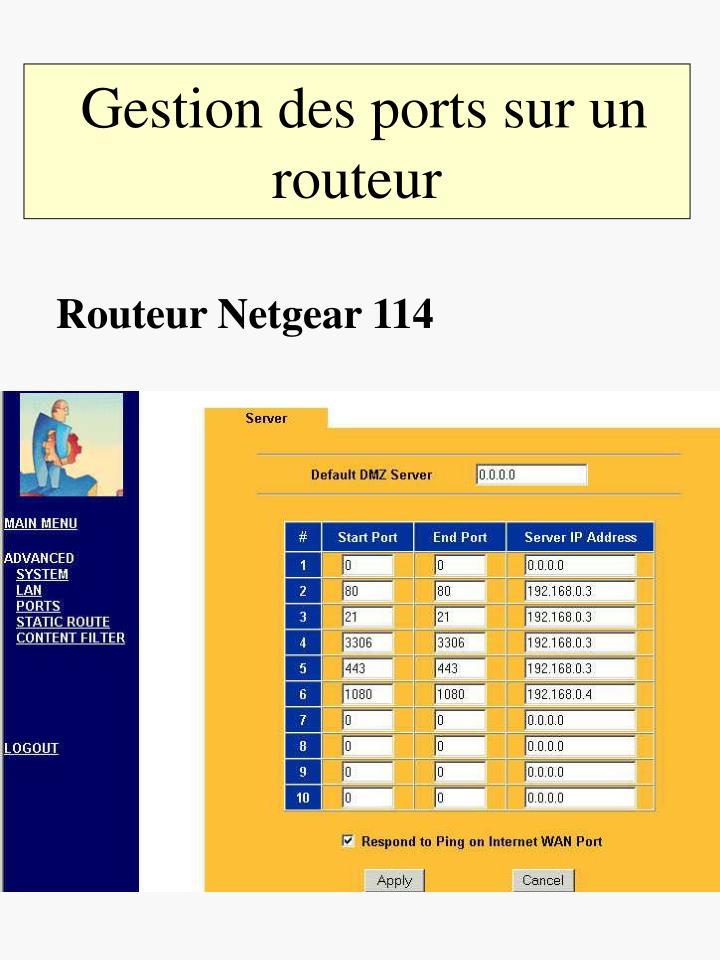Gestion des ports sur un routeur