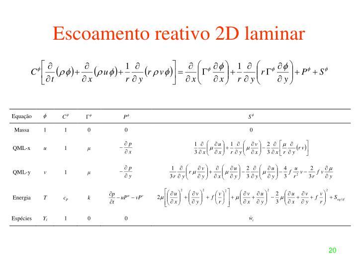 Escoamento reativo 2D laminar