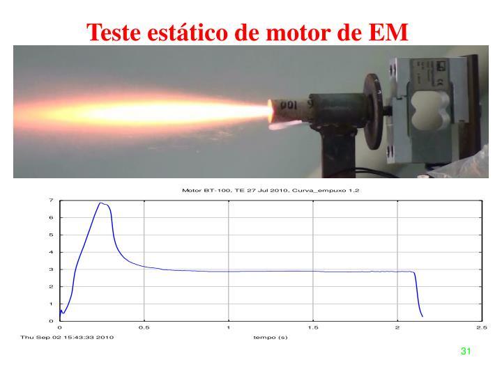 Teste estático de motor de EM