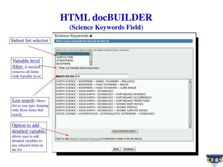HTML docBUILDER