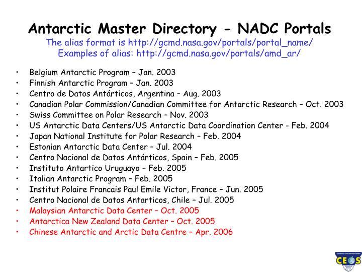 Antarctic Master Directory - NADC Portals