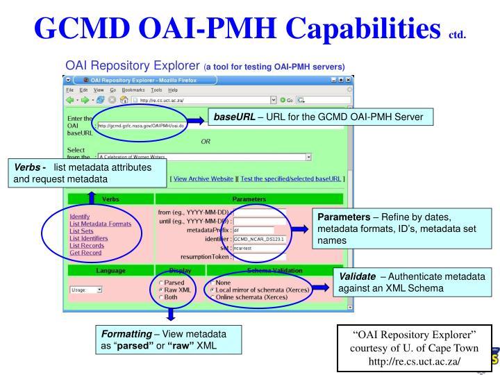 GCMD OAI-PMH Capabilities