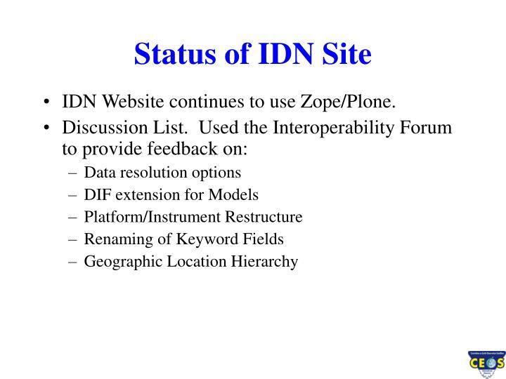Status of IDN Site