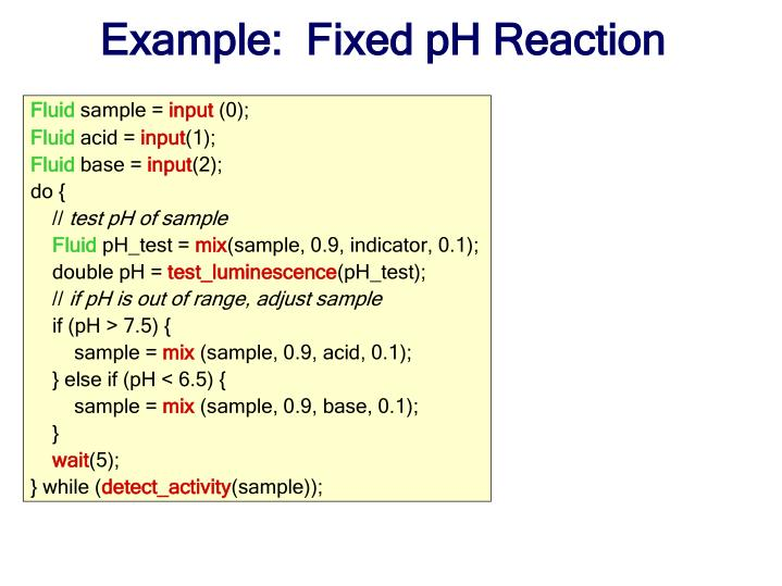 Example:  Fixed pH Reaction