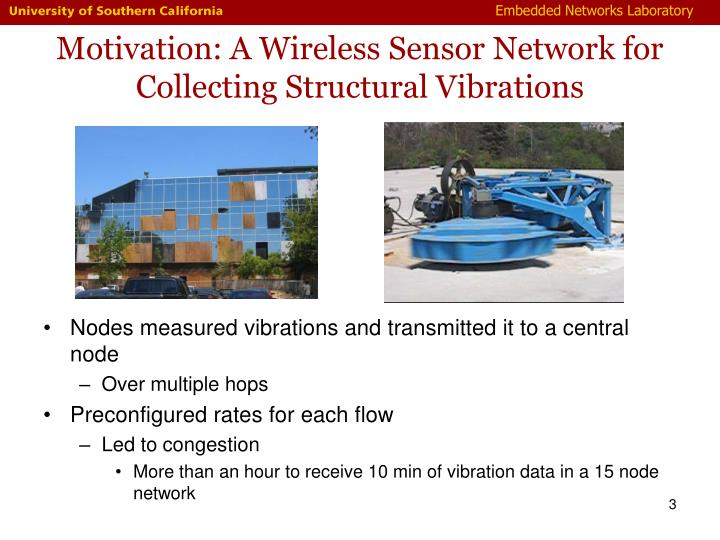 Motivation a wireless sensor network for collecting structural vibrations