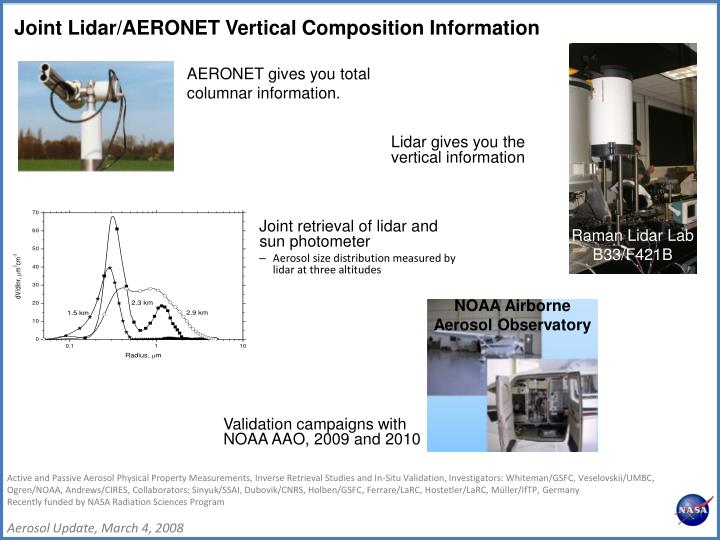 Joint retrieval of lidar and sun photometer
