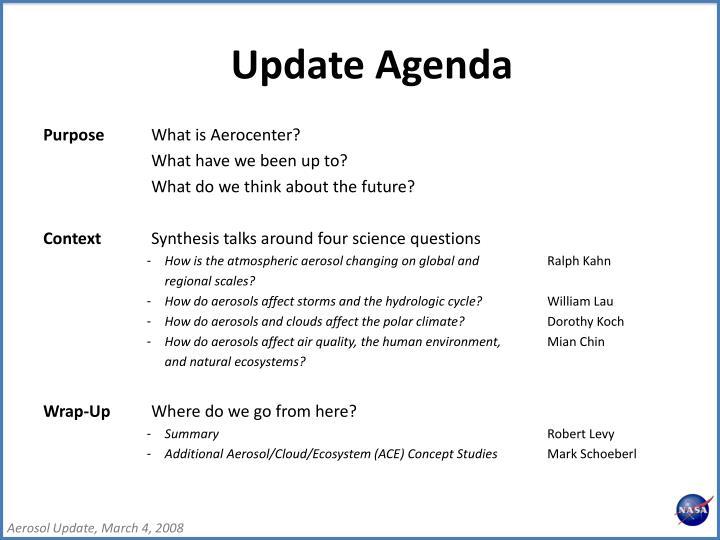 Update Agenda