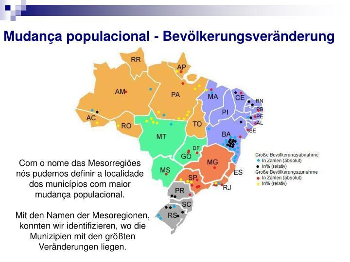 Mudança populacional - Bevölkerungsveränderung